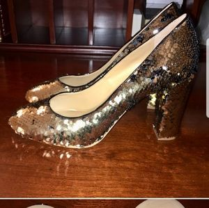 nwob reversible sequin olive pumps